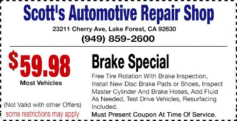 Brake Service Coupons >> Auto Repair Coupons Scott S Automotive Repair Shop Call