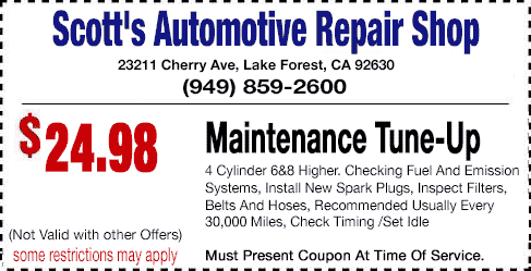 Tune Up Coupons >> Auto Repair Coupons Scott S Automotive Repair Shop Call Now 949